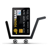 Credit Card. Online Shopping Concept - (Shopping Cart with Credit Card stock illustration