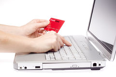 Credit Card. Online shopping human hand Stock Images