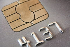 Credit Card. Closeup of digits on face of bank / debit / credit card Stock Image