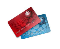 Credit card. View of a red and blue credit card stock illustration
