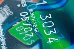 Credit card. Two credit cards numbers macro Stock Photo