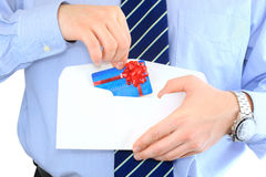 Credit card. Businessman is sending a pre-approved credit card by mail Stock Photos