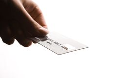 Credit Card. Hand holding a credit card Royalty Free Stock Photos