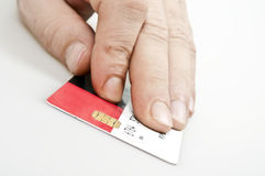 Credit card. Male hand holding credit card Royalty Free Stock Photo