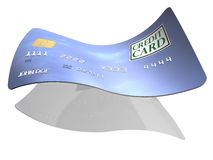 Credit card. 3d illustration of credit card with wave effect; isolated on white background Stock Photo
