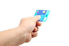 Credit card. Hand hold a  blue credit card Stock Image