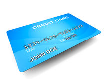 Credit card. A blue credit card with generic john doe information on it, white background, concept of plastic money vector illustration