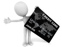 Credit card. 3d man holding a black credit card with generic john doe information on it, white background, concept of plastic money Royalty Free Stock Photo