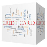 Credit Card 3D Cube Word Cloud Concept. With great terms such as debt, balance, interest, charges and more stock illustration