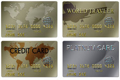 Credit Card. Four typical plastic credit cards with expiration dates Stock Photography