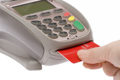 Credit Card 5. Swiping of the credit card for payment processing Royalty Free Stock Image