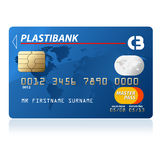 Credit card. Blue credit card vector illustration, highly detailed Stock Photography