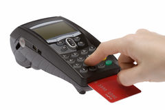 Credit Card 6. Swiping of the credit card for payment processing Royalty Free Stock Image