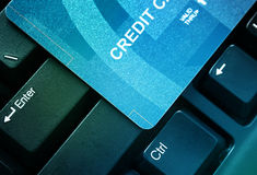Credit card. On a computer keyboard close up Stock Photo