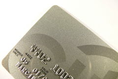 Credit card. Close-up photo of silver credit card over white Stock Image