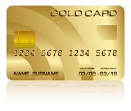 Credit card. Vector illustration of a realistic gold credit card isolated on white Stock Image
