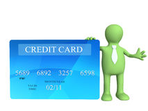 Credit card. 3d puppet holding a new credit card Stock Photo
