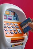 Credit card. Image of hand inserting a credit card in atm toy Royalty Free Stock Photography