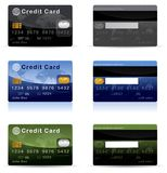 Credit Card. Detailed shiny and glossy credit card or debit card illustrations in various color Royalty Free Stock Photos