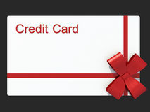 Credit card as a gift. Isolated grey Royalty Free Stock Image