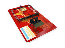 Credit card as mousetrap. Conceptual image Royalty Free Stock Photography