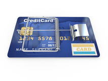 Credit card as mousetrap. Conceptual image Royalty Free Stock Photo