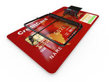 Credit card as mousetrap. Conceptual image Royalty Free Stock Photos