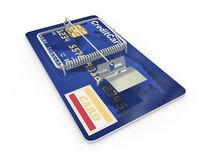 Credit card as mousetrap. Conceptual image Stock Photos