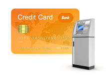 Credit card and ATM. Stock Photo