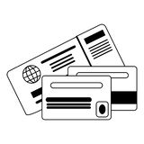 Credit card with backside in black and white. Credit card with backside isolated vector illustration graphic design royalty free illustration