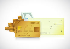 Credit card and bank check illustration design Stock Images
