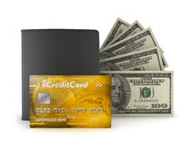 Credit card, bank notes and wallet Royalty Free Stock Image