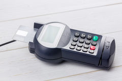 Credit card in banking machine Stock Image