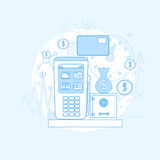 Credit Card Banking Nfc Terminal Checkout Royalty Free Stock Image
