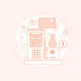 Credit Card Banking Nfc Terminal Checkout Royalty Free Stock Images
