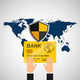 Credit card banking safe shield protection. Vector illustration eps 10 Royalty Free Stock Photos