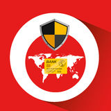 Credit card banking safe shield protection. Vector illustration eps 10 Royalty Free Stock Images