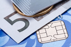 Credit card, banknote and coin. Close up Royalty Free Stock Photos