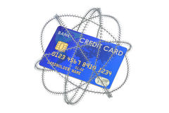 Credit card with barbed wire, 3D rendering. Isolated on white background Stock Image