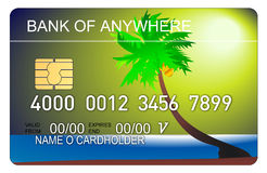 Credit card with beach scene Royalty Free Stock Photo