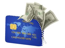 Credit card and bills Stock Image