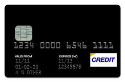 Credit Card Black. Plastic Black Visa Card with plain background Royalty Free Stock Image