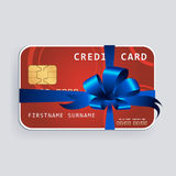 Credit card with blue bow and ribbons. Stock Image