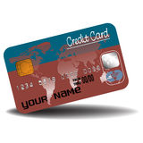 Credit card in brown and blue Stock Images