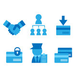 Credit card, business card, partnerships flat icons set Royalty Free Stock Photos