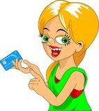 Credit card. Business woman holding credit card in hand. Vector Illustration Royalty Free Stock Photo