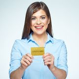 Credit card business woman holding. Royalty Free Stock Photo