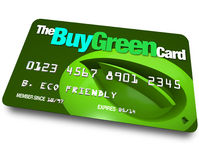 Credit Card - Buy Green. A credit card with the name Buy Green with a background of a leaf symbolizing environmentally friendly choices Royalty Free Stock Photography