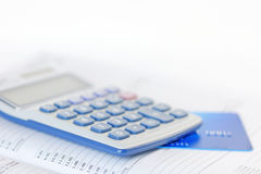 Credit Card and Calculator on a Diary Royalty Free Stock Photos