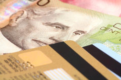 Credit card and canadian dollar Royalty Free Stock Photo